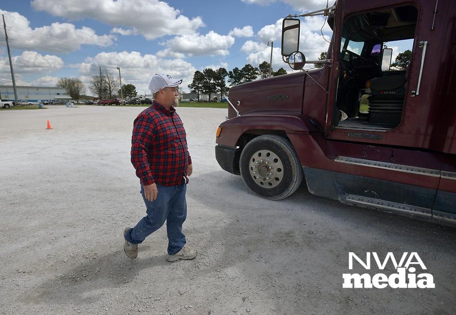 NWA Democrat-Gazette/BEN GOFF @NWABENGOFF<br /> Corey Marler walks to a truck Thursday, April, 6, 2017, at Northwest Technical Institute in Springdale.