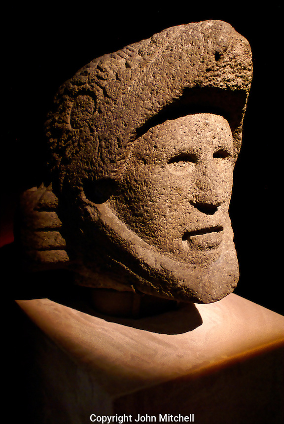 Stone sculpture of the head of an Aztec Eagle Knight in the Templo Mayor Museum, Mexico City..