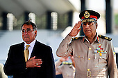United States Secretary of Defense Leon Panetta stands beside Egyptian Major General Rouini during the playing of the U.S. national anthem at the Tomb of the Unknown Soldier and President Anwar Sadat's memorial in Cairo, Egypt, October 4, 2011. .Mandatory Credit: Jacob N. Bailey / USAF via CNP
