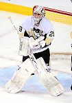 6 February 2010: Pittsburgh Penguins' goaltender Marc-Andre Fleury makes a second period juggling save against the Montreal Canadiens at the Bell Centre in Montreal, Quebec, Canada. The Canadiens defeated the Penguins 5-3. Mandatory Credit: Ed Wolfstein Photo