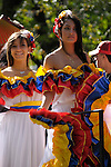 The Hispanic Parade in New York City. Women dressed up and representing Colombia in the Hispanic Parade in New York City.