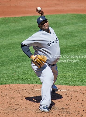 New York Yankees starting pitcher CC Sabathia (52) pitches in the second inning against the Baltimore Orioles at Oriole Park at Camden Yards in Baltimore, MD on Sunday, April 9, 2017.<br /> Credit: Ron Sachs / CNP<br /> (RESTRICTION: NO New York or New Jersey Newspapers or newspapers within a 75 mile radius of New York City)