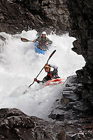 Kayak in the Brandseth river. The Extremesport Week, Ekstremsportveko, is the worlds largest gathering of adrenalin junkies. In the small town of Voss enthusiasts in a varitety of extreme sports come togheter every summer to compete and play.© Fredrik Naumann