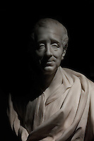 Marble bust of Montesquieu, 1689-1755, lawyer and philosopher of the Age of Enlightenment, by Edmond Prevot, after J B Lemoyne, 1878, marbre, from the collection of the Town Hall of Bordeaux, in the Musee d'Aquitaine, Cours Pasteur, Bordeaux, Aquitaine, France. The Baron de Montesquieu became a counselor of the Bordeaux Parliament in 1714 and became a president a mortier. Picture by Manuel Cohen