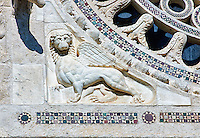 13th century reilief sculpture depicting the  Lion of the Evangelist Marc, of the 8th century Romanesque Basilica church of St Peters, Tuscania, Lazio, Italy