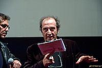 Roma 24  Novembre 2011.Teatro Valle Occupato da  lavoratrici e lavoratori dello spettacolo dal 14 Giugno 2011..Roberto Silvestri, giornalista e critico cinematografico italiano..