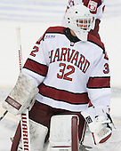 Peter Traber (Harvard - 32) - The Boston College Eagles defeated the Harvard University Crimson 4-1 in the opening round of the 2013 Beanpot tournament on Monday, February 4, 2013, at TD Garden in Boston, Massachusetts.