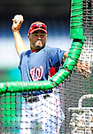 22 April 2010: Washington Nationals' third base coach Pat Listach tosses batting practice prior to a game against the Colorado Rockies at Nationals Park in Washington, DC. The Nationals were shut out by the Rockies 2-0 closing out their series with a 2-2 game split. Mandatory Credit: Ed Wolfstein Photo