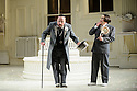London UK. 19.11.2015. English National Opera presents THE MIKADO, by Arthur Sullivan & W. S. Gilbert, directed by Jonathan Miller, at the London Coliseum. Picture shows: Graeme Danby (Poo-Bah), Richard Suart (Ko-Ko). Photograph © Jane Hobson.