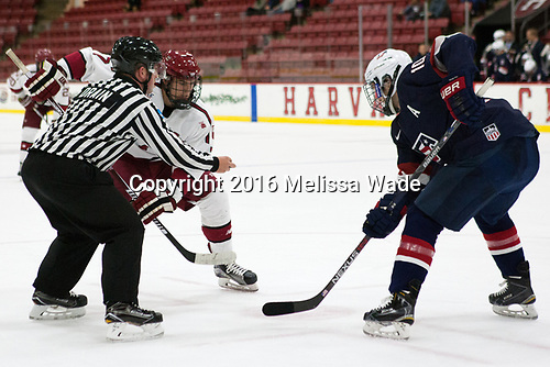 Stephen Drain, Eddie Ellis (Harvard - 7), Scott Reedy (NTDP - 10) - The Harvard University Crimson defeated the US National Team Development Program's Under-18 team 5-2 on Saturday, October 8, 2016, at the Bright-Landry Hockey Center in Boston, Massachusetts.
