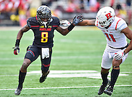 College Park, MD - NOV 26, 2016: Maryland Terrapins wide receiver Levern Jacobs (8) fight with Rutgers Scarlet Knights defensive back Isaiah Wharton (11) for position during game between Maryland and Rutgers at Capital One Field at Maryland Stadium in College Park, MD. Maryland defeated Rutgers 31-13. (Photo by Phil Peters/Media Images International)