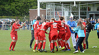 20170429 - BRUGGE , BELGIUM : Melsele pictured celebrating after winning the game and title after the soccer match between the women teams of Cerkelladies Brugge and Svelta Melsele , during the last matchday in the 2016-2017  Tweede klasse - Second Division season, Saturday 29 th April 2017 . PHOTO SPORTPIX.BE | DAVID CATRY