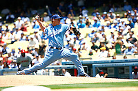 15 June 2011: Dodgers starting pitcher #58 Chad Billingsley on the mound during a Major League Baseball game where the LA Dodgers were defeated 7-2 by the Cincinnati Reds at Dodger Stadium during a day game. Players are wearing throwback uniforms from the 1940's. **Editorial Use Only**