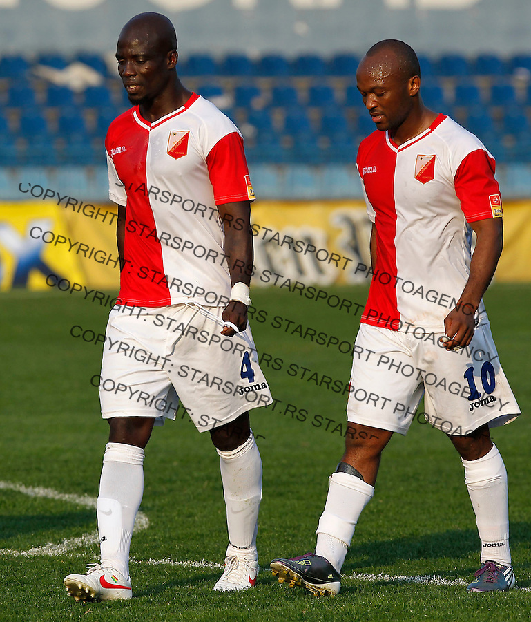 Fudbal, Jelen super liga, season 2011/2012.OFK Beograd Vs. Vojvodina.Stephen Appiah, left and Almami Moreira, looks rejected.Beograd, 24.03.2012..Srdjan Stevanovic/Starsportphoto ©