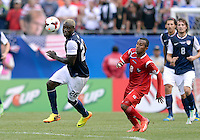 Chicago, IL - Sunday July 28, 2013:   USMNT forward Ediie Johnson (26) battles with Panama's Marcos Sanchez (8) during the CONCACAF Gold Cup Finals soccer match between the USMNT and Panama, at Soldier Field in Chicago, IL.