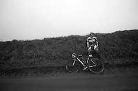 Dwars Door Vlaanderen 2013.Gatis Smukulis (LET) pulled himself to the side after crashing going down Ladeuze