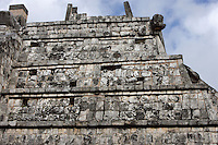 Upper side of The Ossuary Pyramid with the serpent's head at the corner, 800-900 AD, Toltec Architecture, Chichen Itza, Yucatan, Mexico. This pyramid was probably used for the cremations. Picture by Manuel Cohen