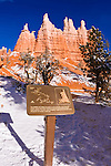 Trail sign at the Queen Victoria formation along the Queens Garden Trail, Bryce Canyon National Park, Utah