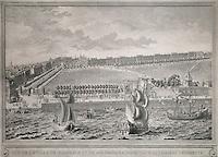 View of the town of Bordeaux near the Chateau Trompette, etching, 1755, by Nicolas Leroy de Baseront, in the Musee d'Aquitaine, Cours Pasteur, Bordeaux, Aquitaine, France. Picture by Manuel Cohen