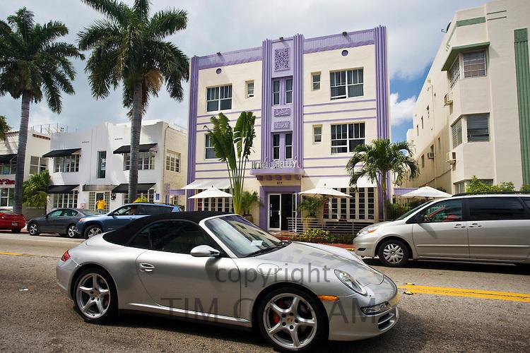 Porsche 911cabriolet convertible sports car by Hotel Shelley, Collins Avenue, at South Beach, Miami, Florida, USA