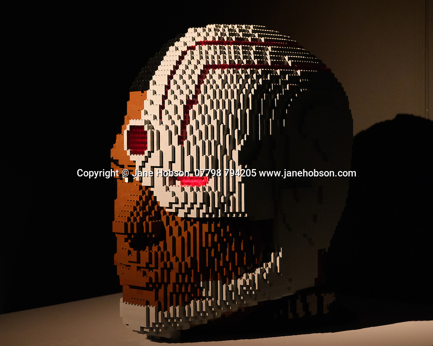 THE ART OF THE BRICK: DC SUPER HEROES - Artist Nathan Sawaya returns to London with the world's largest LEGO exhibition, inspired by Batman, Superman, and Wonder Woman. The exhibition opens, in a purpose-built marquee in Doon Street car park, Upper Ground, on the South Bank. Picture shows: Cyborg Bust.