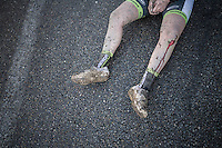 post-race legs<br /> <br /> elite women's race<br /> <br /> 2016 CX Superprestige Spa-Francorchamps (BEL)
