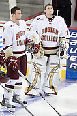 Brian Dumoulin (BC - 2), John Muse (BC - 1) - The Boston College Eagles defeated the visiting Merrimack College Warriors 3-2 on Friday, October 29, 2010, at Conte Forum in Chestnut Hill, Massachusetts.