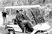 Governor Ronald Reagan (Republican of California) and United States President Richard M. Nixon in a golf cart on August 18, 1972..