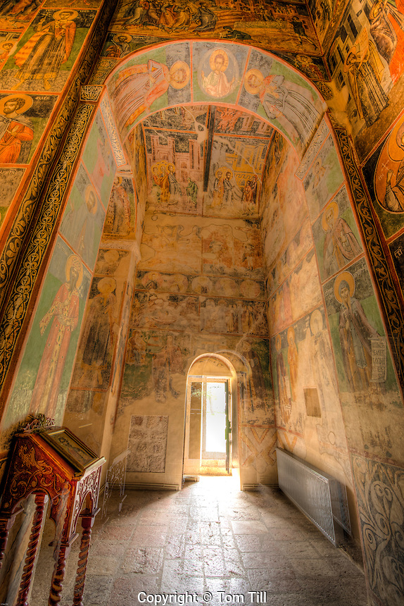 Doorway and frescoe, Piva monestary, Montenegro, Paintings by Longin and other artisans from 1600's.