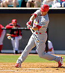 8 March 2006: Larry Bigbie, outfielder for the St. Louis Cardinals, at bat during a Spring Training game against the Washington Nationals. The Cardinals defeated the Nationals 7-4 in 10 innings at Space Coast Stadium, in Viera, Florida...Mandatory Photo Credit: Ed Wolfstein.