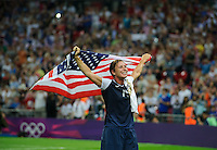 London, England - Thursday, August 9, 2012: The USA defeated Japan 2-1 to win the London 2012 Olympic gold medal at Wembley Arena. Abby Wambach celebrates her gold medal. .