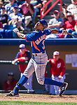 13 March 2014: New York Mets outfielder Curtis Granderson in action during a Spring Training game against the Washington Nationals at Space Coast Stadium in Viera, Florida. The Mets defeated the Nationals 7-5 in Grapefruit League play. Mandatory Credit: Ed Wolfstein Photo *** RAW (NEF) Image File Available ***