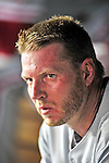 27 September 2010: Philadelphia Phillies' pitcher Roy Halladay sits in the dugout during a game against the Washington Nationals at Nationals Park in Washington, DC. Mandatory Credit: Ed Wolfstein Photo