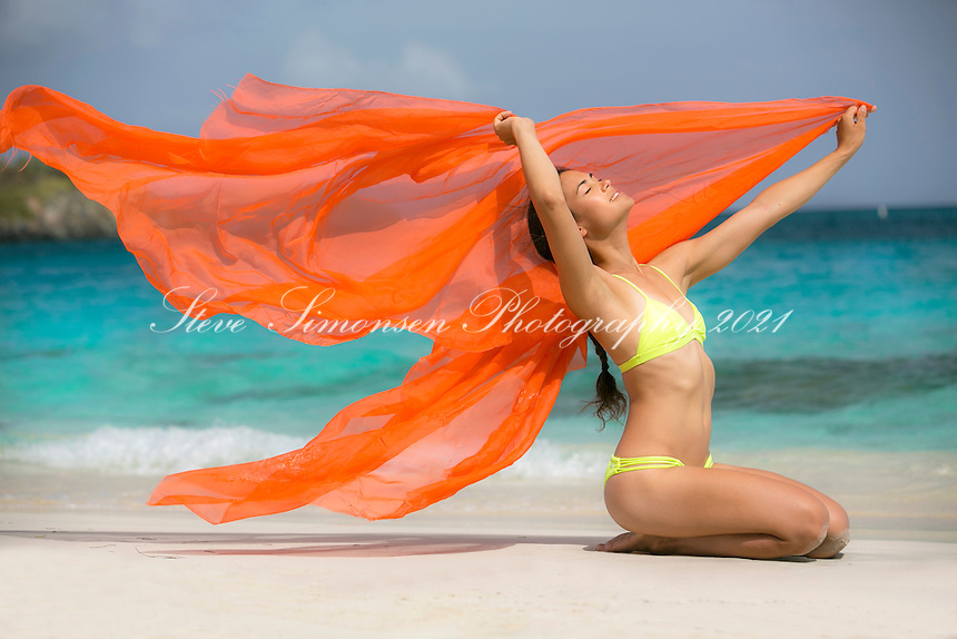 Mayumi Roller<br /> at the beach<br /> St. John<br /> US Virgin Islands