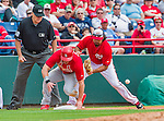 7 March 2015: Washington Nationals third baseman Anthony Rendon is unable to get a sliding Randal Grichuk out at third in the second inning of Spring Training action against the St. Louis Cardinals at Space Coast Stadium in Viera, Florida. The Nationals rallied to defeat the Cardinals 6-5 in Grapefruit League play. Mandatory Credit: Ed Wolfstein Photo *** RAW (NEF) Image File Available ***