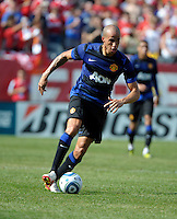 Manchester United midfielder Gabriel Obertan (26) makes a move with the ball.  Manchester United defeated the Chicago Fire 3-1 at Soldier Field in Chicago, IL on July 23, 2011.