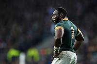 Tendai Mtawarira of South Africa looks on during a break in play. Rugby World Cup Semi Final between South Africa and New Zealand on October 24, 2015 at Twickenham Stadium in London, England. Photo by: Patrick Khachfe / Onside Images