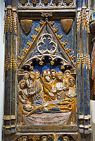 Gothic decorative relief panel depicting the Virgin Mary and Saint Antony. circa 1378-1390 from the church of Salvador of Gerb, Noguera. inv MNAC 25071, National Museum of Catalan Art (MNAC), Barcelona, Spain