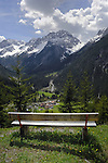 Seat overlooking small village of Elmen on the Hahntennjoch pass between Imst and the Lech valley. Tyrol Austria.