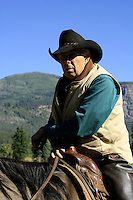 Cowboy on Horseback - A cowboy is an animal herder who tends cattle on ranches in America traditionally on horseback and often performs other ranch related tasks. The American cowboy of the late 19th century arose from the vaquero traditions of northern Mexico and became a figure of special significance and legend while a wrangler, specifically tends the horses used to work cattle. In addition to ranch work, some cowboys participate in rodeos.