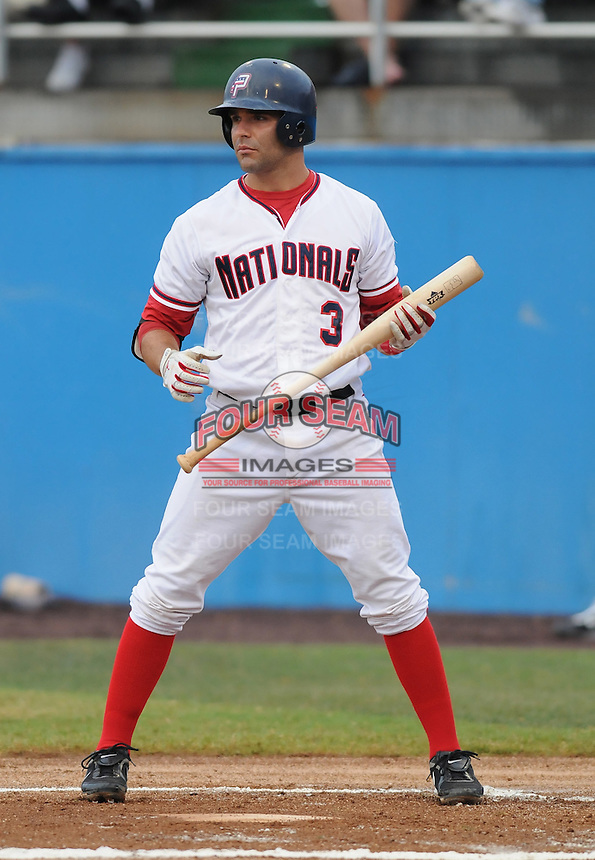 July 17, 2009: Infielder Danny Espinosa (3) of the Potomac Nationals, Carolina League affiliate of the Washington Nationals, in a game against the Kinston Indians at G. Richard Pfitzner Stadium in Woodbridge, Va. Photo by: Tom Priddy/Four Seam Images.
