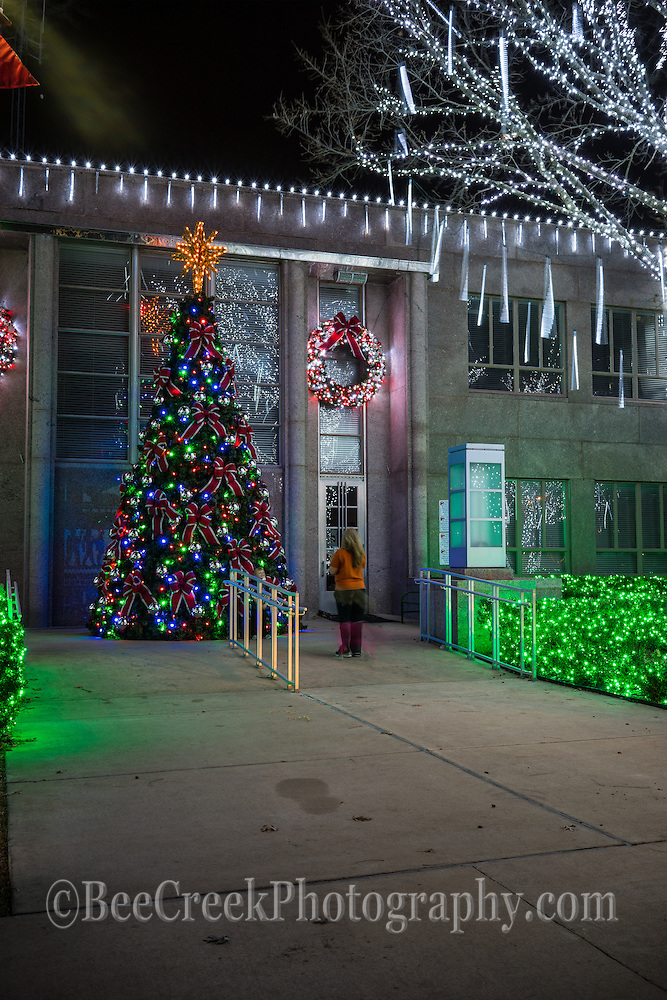 Christmas tree at the Court house in Burnett Texas.  Also holiday chirstmas light on the town square.