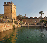 Fish ponds in the gardens of the Alcazar de los Reyes Cristianos or Palace of the Catholic Kings, rebuilt during the Umayyad Caliphate in the 10th century and used as a royal fortress by the Moors and the Christians, as a base for the Spanish Inquisition, and as a prison, in Cordoba, Andalusia, Southern Spain. The alcazar is a national monument of Spain, and the historic centre of Cordoba is listed as a UNESCO World Heritage Site. Picture by Manuel Cohen