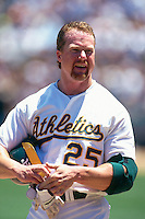 OAKLAND, CA - Mark McGwire of the Oakland Athletics in action during a game against the San Diego Padres at the Oakland Coliseum in Oakland, California in 1997. Photo by Brad Mangin