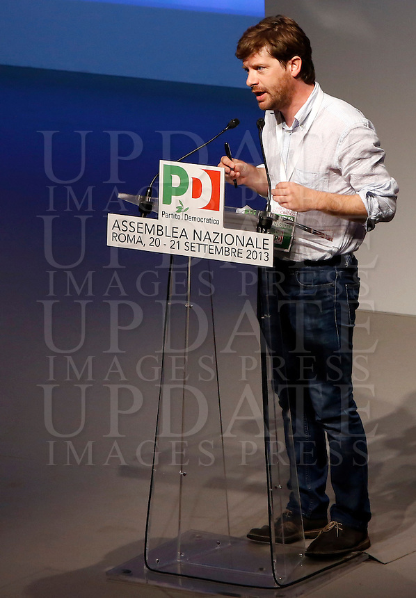 Il deputato Giuseppe Civati interviene durante la seconda giornata dell'Assemblea Nazionale del Partito Democratico a Roma, 21 settembre 2013.<br /> Lawmaker Giuseppe Civati speaks during the second day of the Italian Democratic Party's National Assembly in Rome, 21 September 2013.<br /> UPDATE IMAGES PRESS/Riccardo De Luca