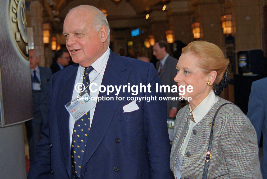 Sir Peter Tapsell, MP, UK, Conservative Party, arrives with his wife, Gabrielle, at annual conference, Blackpool, 199910122..Copyright Image from Victor Patterson, 54 Dorchester Park, Belfast, UK, BT9 6RJ..Tel: +44 28 9066 1296.Mob: +44 7802 353836.Voicemail +44 20 8816 7153.Skype: victorpattersonbelfast.Email: victorpatterson@mac.com.Email: victorpatterson@ireland.com (back-up)..IMPORTANT: If you wish to use this image or any other of my images please go to www.victorpatterson.com and click on the Terms & Conditions. Then contact me by email or phone with the reference number(s) of the image(s) concerned.