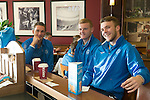 St Johnstone v FC Minsk...31.07.13<br /> Gary McDonald, Brian Easton and Zander Clark pictured at Edinburgh Airport waiting for the flight to Grodno in Belarus.<br /> Picture by Graeme Hart.<br /> Copyright Perthshire Picture Agency<br /> Tel: 01738 623350  Mobile: 07990 594431