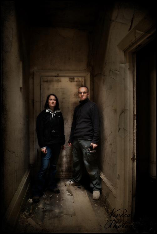 Two Urban Explorers at Leybourne Grange abandoned asylum.