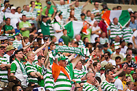 Celtic F. C.fans stand vigil as Dylan McGeouch (46) of Celtic F. C. (not pictured) is treated for his injuries. Real Madrid defeated Celtic F. C. 2-0 during a 2012 Herbalife World Football Challenge match at Lincoln Financial Field in Philadelphia, PA, on August 11, 2012.