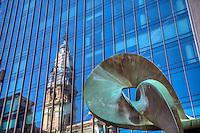 City Hall Reflection, Ritz Carlton Hotel, Philadelphia PA, Pennsylvania, City, United States,